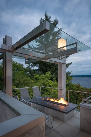 Modern Deck with Trellis, Fire pit, Deck Railing, exterior concrete tile floors, exterior tile floors
