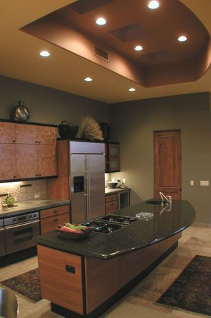 Contemporary Kitchen with Kitchen island, Slate tile counters, travertine tile floors, One-wall, double wall oven, Barn door