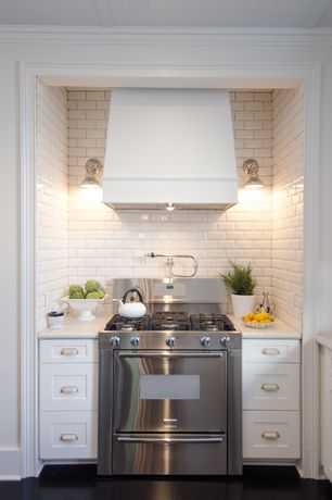 Traditional Kitchen with Flush, Wall sconce, full backsplash, double oven range, flush light, Complex granite counters