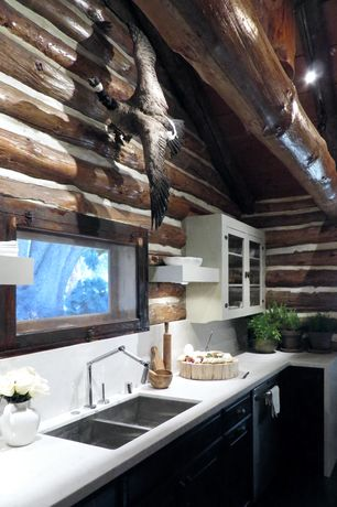 Rustic Kitchen with can lights, One-wall, Limestone counters, Kohler karbon articulating kitchen faucet, Flat panel cabinets