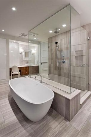 Contemporary Master Bathroom with White lacquered cabinets, Handheld showerhead, Flush, Vessel sink, frameless showerdoor