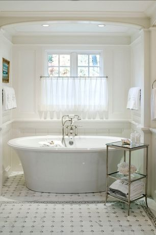 "Cottage Master Bathroom with Wainscotting, Freestanding, OIA Glacier 33"" x 13"" Etagere, Crown molding, ceramic tile floors"
