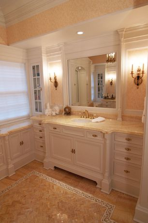 Traditional Master Bathroom with Complex granite counters, Durasupreme Cabinets - Marquis Style Panel, Inset cabinets