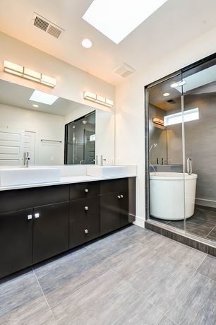 Contemporary Master Bathroom with Simple Marble, Master bathroom, European Cabinets, Simple marble counters, Freestanding