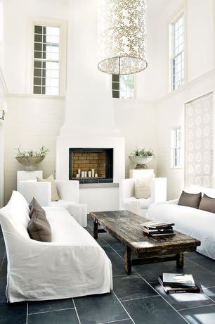 Contemporary Living Room with High ceiling, soapstone tile floors, Restoration Hardware Belgian Slope Arm Slipcovered Sofa