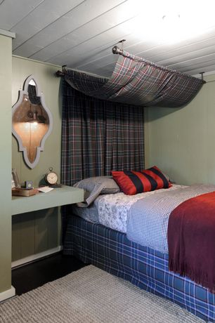 Rustic Guest Bedroom with Built-in bookshelf, Standard height, can lights, Hardwood floors, Wall sconce