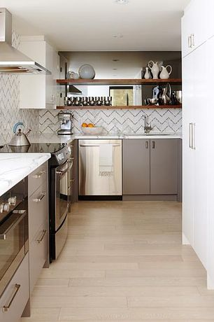 Contemporary Kitchen with European Cabinets, Herringbone Tile, Maple - Winter Neutral 4 in. Solid Hardwood Plank, U-shaped