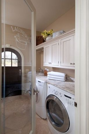 Cottage Laundry Room with Glass panel door, Sans Source Custom Etched Laundry Room Doors, Built-in bookshelf, French doors
