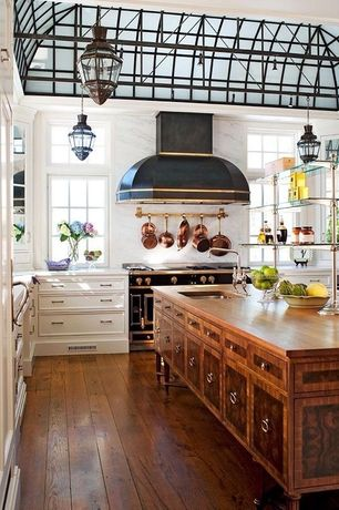 Eclectic Kitchen with Paint, picture window, full backsplash, Inset cabinets, Casement, Wall Hood, Flat panel cabinets