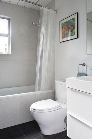 Contemporary Full Bathroom with tiled wall showerbath, Undermount sink, Handheld showerhead, European Cabinets, Flush