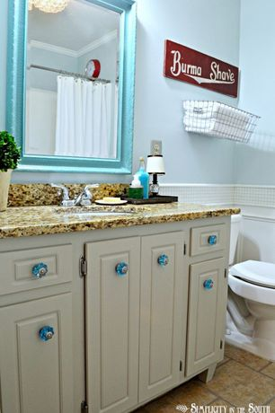 Cottage Powder Room with Crown molding, Inset cabinets, Sky blue glass cabinet knobs, Paint 1, Paint 2, curtain showerdoor