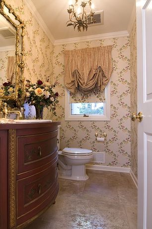 Traditional Powder Room with Wood counters, interior wallpaper, Chandelier, Arizona Tile, Amalfi Series, Porcelain