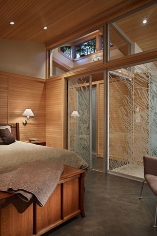 Contemporary Master Bedroom with bedroom reading light, can lights, Crown molding, sliding glass door, High ceiling
