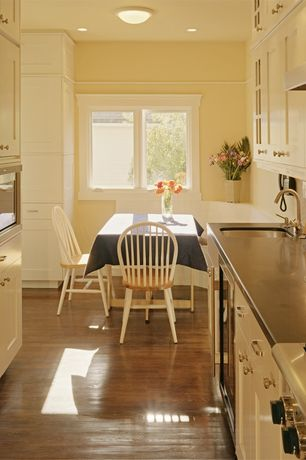 Traditional Kitchen with Breakfast nook, Large Ceramic Tile, Wine refrigerator, U-shaped, Undermount sink, Concrete counters