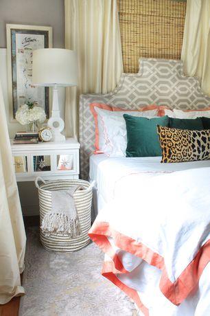 Contemporary Master Bedroom with Custom headboard with slick grey contemporary drapery fabric