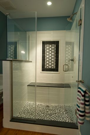 Traditional Full Bathroom with Menara Black Stars Handmade Cement and Granite 8-inch x 8-inch Floor and Wall Tile, Paint 1