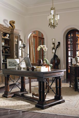 Traditional Home Office with Hardwood floors, High ceiling, Built-in bookshelf, Crown molding, Chandelier
