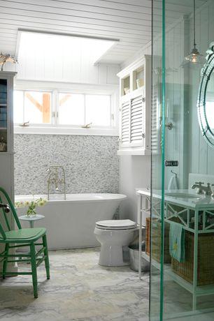 Cottage Full Bathroom with Standard height, partial backsplash, Freestanding, Casement, Skylight, Sliced White Pebble Tile