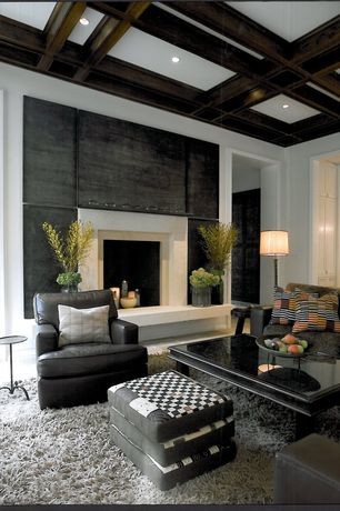 "Contemporary Living Room with Exposed beam, Safavieh jenna stacked 31"" h ball table lamp with drum shade, stone fireplace"
