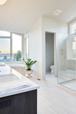 Contemporary Master Bathroom with Undermount sink, frameless showerdoor, Florida tile tides porcelain tile - sea salt 12x24