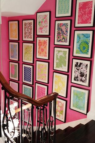Eclectic Hallway with Paint, Framed fabric in Lilly Pulitzer print Pandamonium, Standard height, Hardwood floors