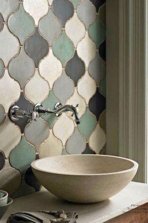 Eclectic Powder Room with Powder room, Eden bath stone 5-in d beige natural stone round vessel sink, Vessel sink, Slate Tile