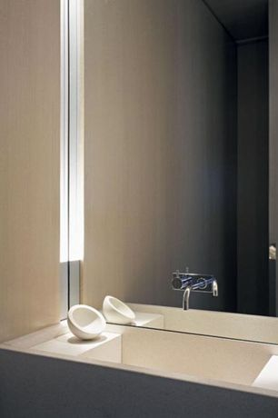 Modern Powder Room with Custom sink, Cifial techno 25 single handle wall mount lavatory faucet, Corian counters, Powder room