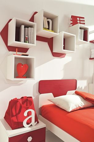 Modern Kids Bedroom with no bedroom feature, Modern twin kids bed, Built-in bookshelf, Standard height, Colorful wall storage