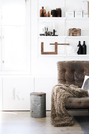 Contemporary Living Room with Threshold brown faux fur throw blanket, Laminate floors, Faux fur throw, Area rug