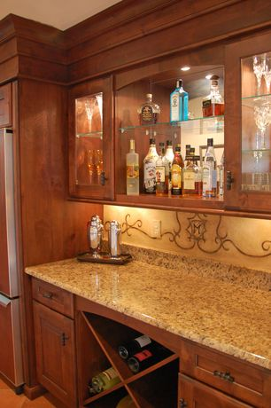 Mediterranean Bar with can lights, terracotta tile floors, Mural, Crown molding, Standard height