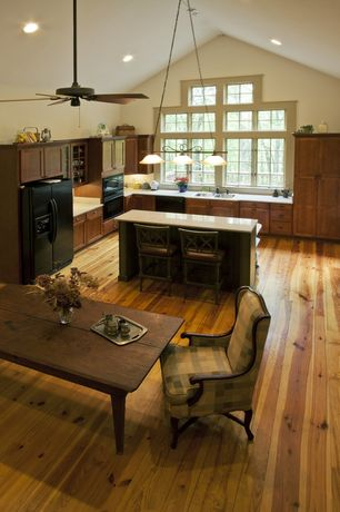 Country Kitchen with Breakfast bar, Simple granite counters, L-shaped, Pendant light, High ceiling, Kitchen island