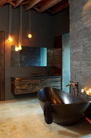 Contemporary Full Bathroom with Wood counters, limestone floors, Exposed beam, Freestanding bathtub, European Cabinets, Flush