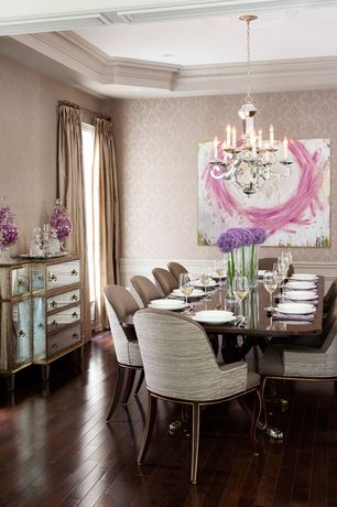 Art Deco Dining Room with Crown molding, Mayflower tuscan red birch engineered, Large damask wallpaper, Hardwood floors