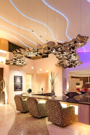 Modern Dining Room with Pendant light, Concrete tile , High ceiling