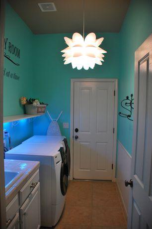 Laundry Room with specialty door, laundry sink, travertine tile floors, Standard height, Paint 1, Drop-in sink, Pendant light