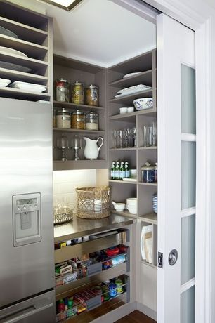 Contemporary Pantry with Gila Frosted Privacy Window Film, Built-in bookshelf, Skylight, Hardwood floors