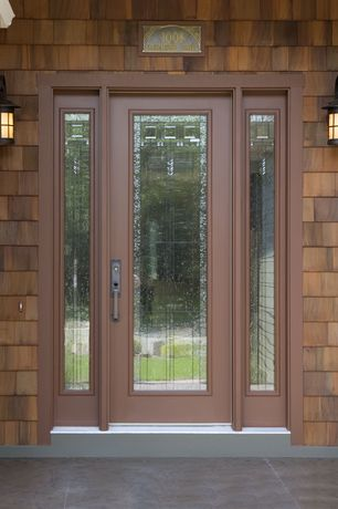 Craftsman Front Door with Pathway, Stained glass window, exterior stone floors, French doors