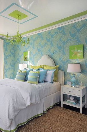 Eclectic Kids Bedroom with Sham pillow, Crown molding, Painted chandelier, Silk trim tailored bedskirt, Ceramic table lamp