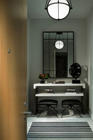 Contemporary Entryway with flush light, travertine tile floors