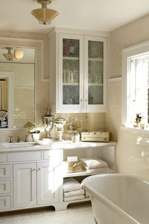Traditional Master Bathroom with picture window, Wall Tiles, Undermount sink, flush light, Wall sconce, Bathtub, Clawfoot