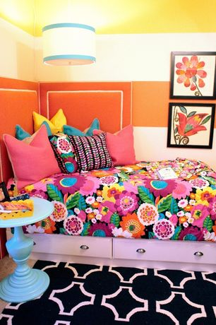 Eclectic Kids Bedroom with Nunnelly Blue Accent Table, Pendant light, Carpet, Fiesta Estela Reversible Comforter Set