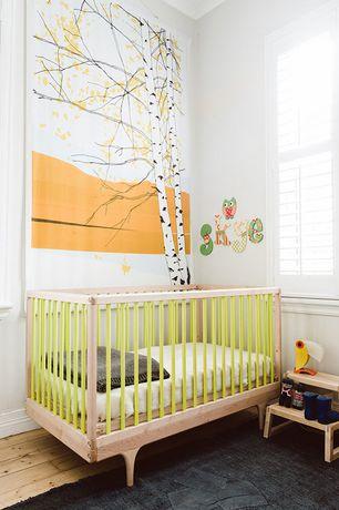 Traditional Kids Bedroom with Hardwood floors, Chandra Saket Black Area Rug, KidKraft Two Step Stool - Natural