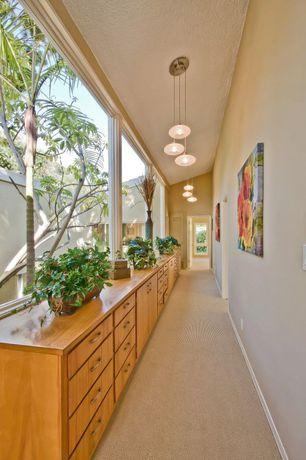 Eclectic Hallway with Pendant light, Columns, Carpet