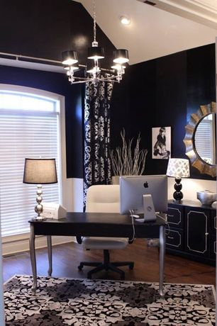 """Contemporary Home Office with Safavieh longview 26"""" h three sphere table lamp with drum shade, Bush Farrago Writing Desk"""