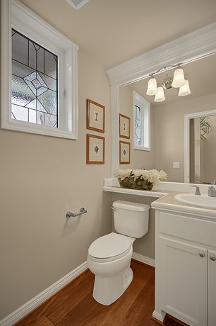 Traditional Powder Room with Raised panel, Stained glass window, Paint, full backsplash, Powder room, Standard height