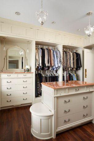 Traditional Closet with Quoizel jolene jle2812is pendant, Hardwood floors, specialty door, Built-in bookshelf, Crown molding