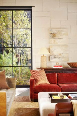 Contemporary Living Room with picture window, limestone floors, High ceiling