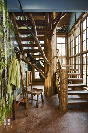 Eclectic Staircase with interior wallpaper, Hardwood floors, Ski Hall Tree - Standing Ski Coat Rack, Cathedral ceiling