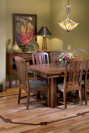 Craftsman Dining Room with Pendant light, Hardwood floors