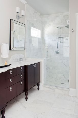 Traditional Master Bathroom with European Cabinets, Undermount sink, frameless showerdoor, Frameless glass shower door, Flush